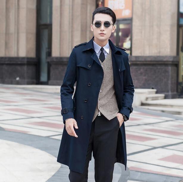 Gabardina larga negra azul beige de talla grande 9XL para primavera y otoño para hombre, moda informal para hombre, chaqueta juvenil de doble botonadura para hombre