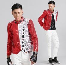 Rock punk rouge paillettes réflecteur blazer hommes dernières conceptions de manteau costume hommes costume homme chanteur danse costumes pour hommes vestes
