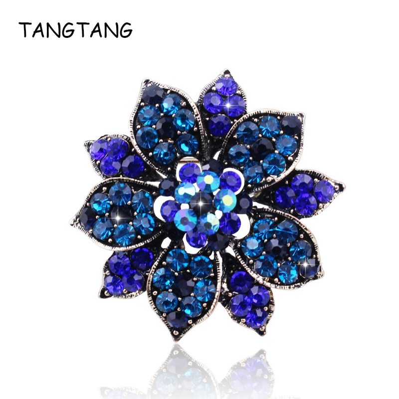 Vintage real azul profundo broches floral de cristal y alfileres de joyería de encanto de diamantes de imitación Glamour increíble accesorios de solapa, 2019
