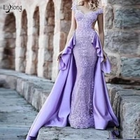 vintage lavender lace mermaid evening dresses with detachable train ruffles backless long prom gowns 2019 robe de soiree