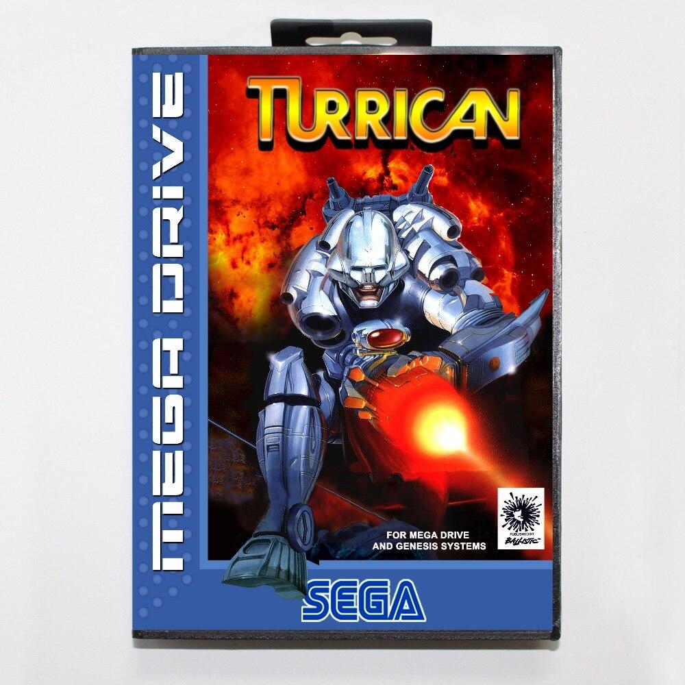 Turrican 16 poco SEGA tarjeta de juego MD con caja de venta...