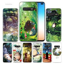 Lindo Studio Ghibli Totoro funda para Samsung Galaxy S8 S9 S10 5G S10e S7 Nota 8 9 10 J4 j6 más J5 J8 2018 J3 de silicona teléfono bolsas