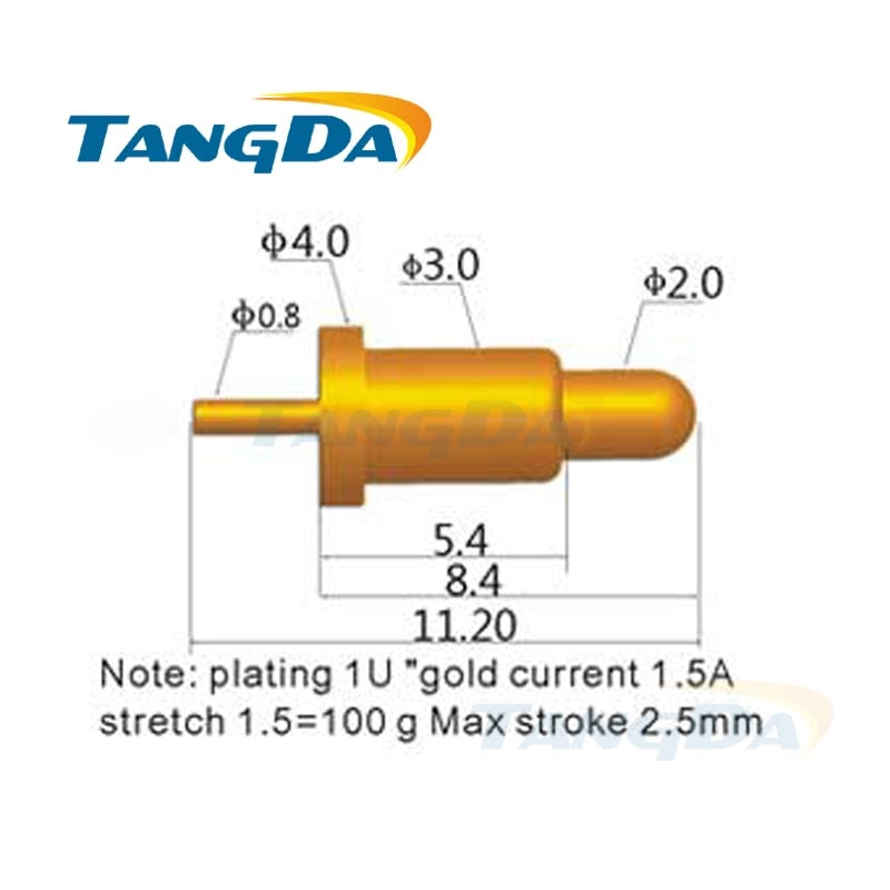 Tangda pogo-موصل دبوس ، إلكترونيات رقمية ، 1 ، 5 أ ، تيار عالٍ ، مطلي بالذهب والنحاس ، 11.2 جرام ، دي إتش إل ، 4*100