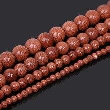 Perles de pierre naturelle de sable dor perles entretoises rondes 15