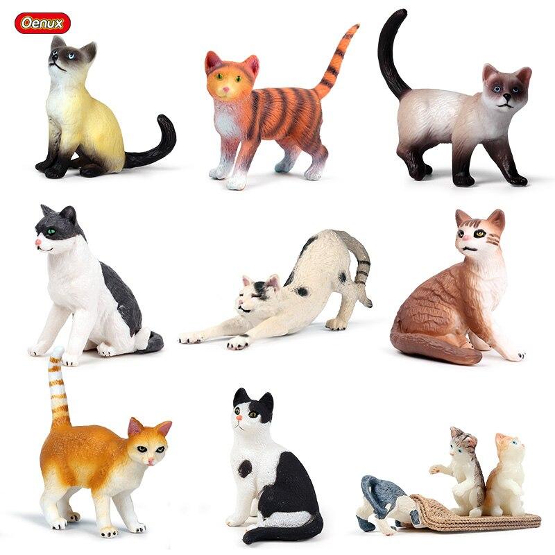Figuras de acción de Oenux, tamaño pequeño de aves de corral, gatos bonitos en miniatura, gatito, juguete educativo de PVC para chico, regalo