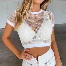 Women summer White mesh hollow mesh yarn Transparent breathable short Sleeve T-Shirt Women summer grid hollow tshirt tess