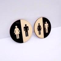 1 piece round toilet door sign men women wooden bathroom wc acrylic 3d black mirror surface wall sticker home decoration