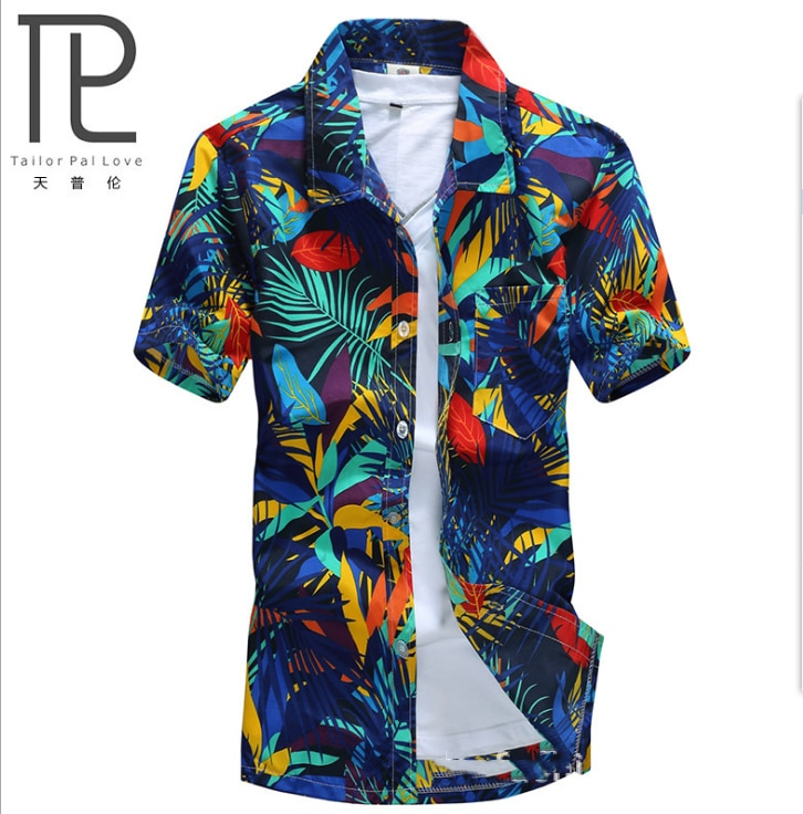 Camisa hawaiana hombres hombre Casual camisa masculina playa camisas de manga corta ropa de marca # C654