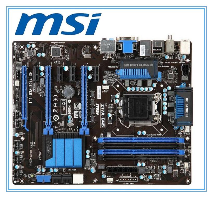 Оригинальная материнская плата MSI Z77A-G45 DDR3 LGA 1155 для I3 I5 I7 CPU 32 Гб USB3.0 SATA3, настольная материнская плата, бесплатная доставка
