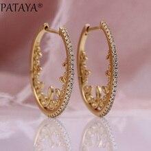 PATAYA nouveau creux dentelle cercle boucles doreilles femmes fête Fine mode bijoux 585 or Rose blanc naturel Zircon boucles doreilles de mariage