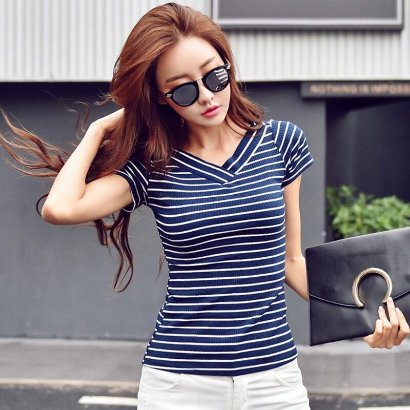 Poleras De Mujer Moda 2019 algodón camisetas con cuello en V rayas camiseta Mujer verano manga corta coreano Tops Mujer camiseta 3XL