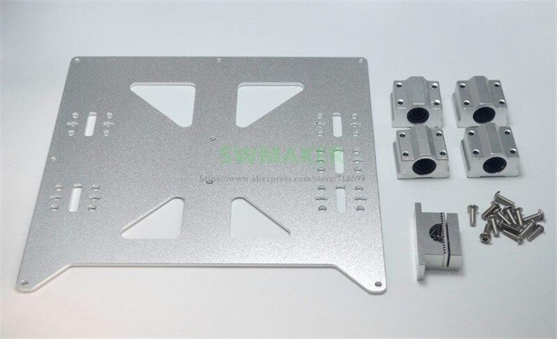 SWMAKER Prusa i3 RepRap, impresora 3D de aluminio Y carro V2, Kit de placa con bloque de rodamiento SC8UU Y soporte de correa de metal mejorado