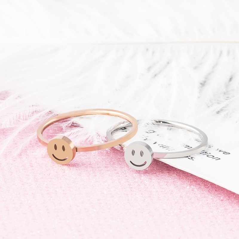 Zmzy simples fino anel de aço inoxidável dainty stackable anéis para mulheres minimalista jóias bonito sorriso anel de casamento presente anillos