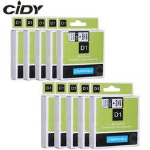 """Cidy 10 Uds 3/8 """"* 23 '9mm * 7m negro sobre blanco cinta compatible para dymo d1 40913 40918 40910 impresoras DYMO LM160 LM280 DYMO PNP"""