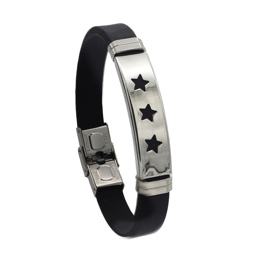 Hapiship 2018 Silicone Stainless Steel 3 Star Bracelet Bangle For Men Women  Black Wristband Masculine Cool Jewelry GJ012