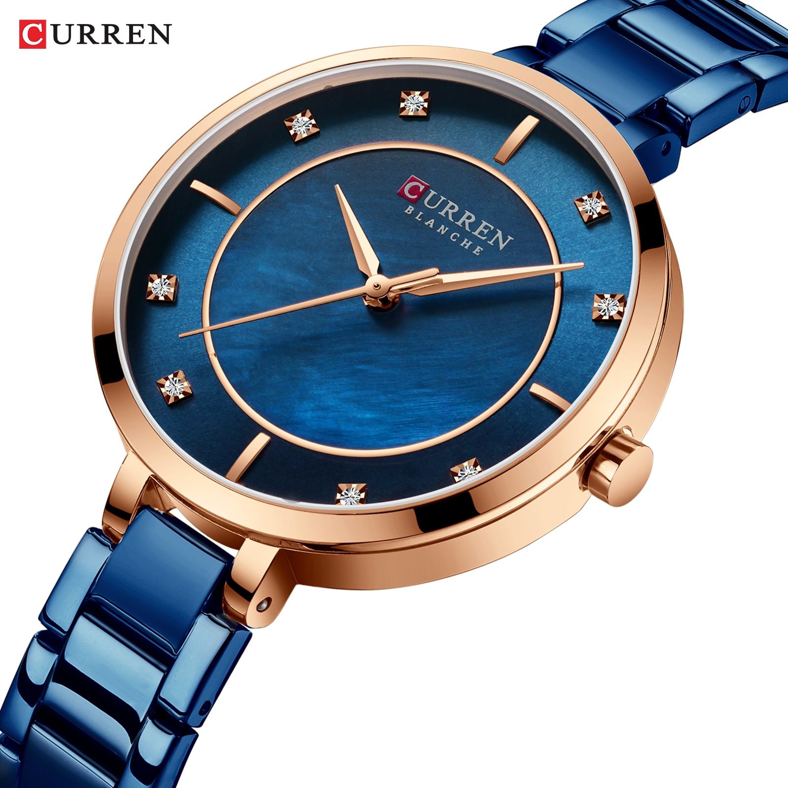 CURREN Fashion Ladies Watch Blue Stainless Steel Bracelet Rhinestone Diamond Quartz Waterproof Female Watches Clock Montre Femme
