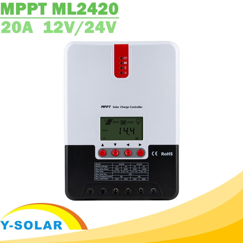 20A MPPT Solar Charge Controller 12V 24V Auto LCD Max 100V PV Input Solar Regulator for AGM Lead Acid Gel Lithium Battery