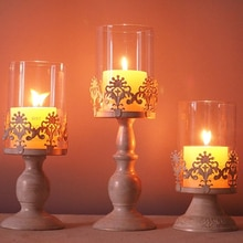 3 unids/set de portavelas decorativas para velas, candelabros con cúpula de cristal, centros de mesa de escritorio