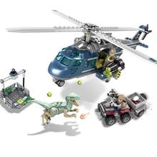 Jurassic World 2 dinosaure Velociraptor bleu hélicoptère poursuite blocs de construction dinosaure Figures briques jouets 75928 modèle