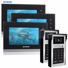 DIYSECUR 7 인치 터치 버튼 비디오 문 전화 인터콤 초인종 IR 밤 비전 HD 300000 픽셀 RFID 키패드 카메라 2V3