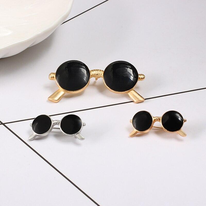 Couple Broche Enamel Pins 2Pcs Suit Mini Cute Gold/Sliver Sunglasses Clothes Lapel Pin Bag Icons But