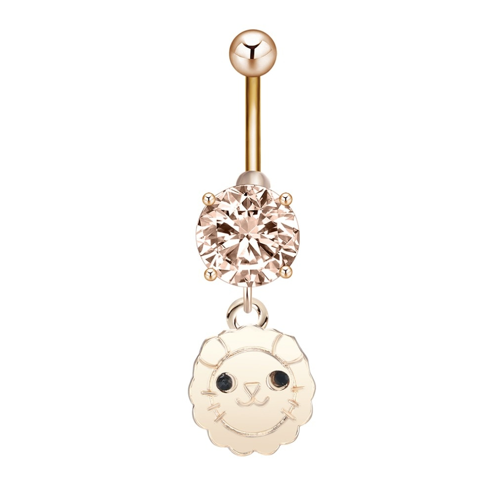 QIMING girasol sonrisa cara ombligo barra anillo Piercing de cuerpo en forma de pesa joyería lindos animales León colgante joyería