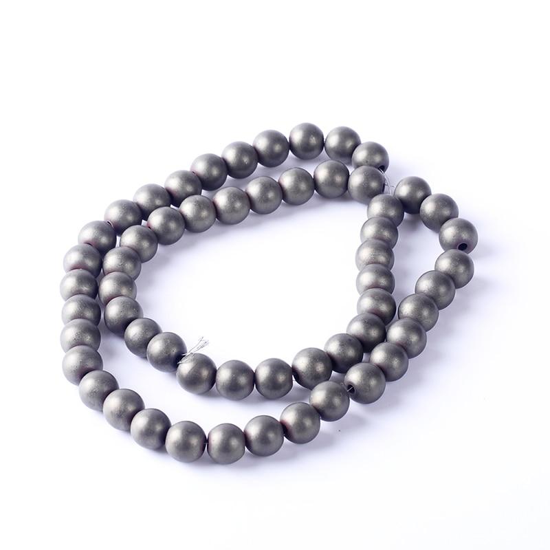 Natural Stone 4/6/8/10mm Hematite Beads Round Loose Beads Grey Matt Unpolished DIY Necklace Bracelet Jewelry Making Accessories