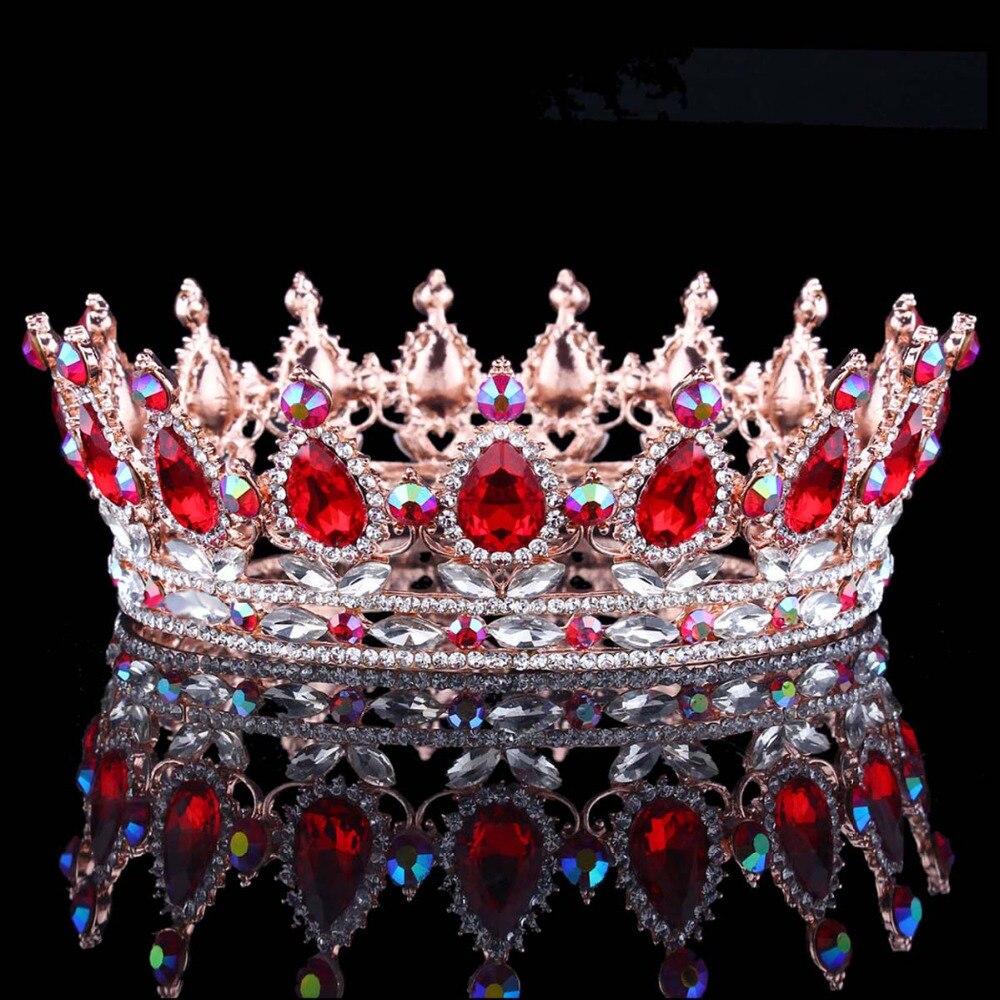 Diseños europeos calientes rey real reina corona rhinestone tiara para la cabeza joyería Quinceañera corona boda novia Tiaras coronas de concursos