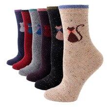 Chaussettes drôles femmes créatif couleur dot fil laine chaussettes épaississement mignon dessin animé chat personnalité doux laine chaussettes femmes