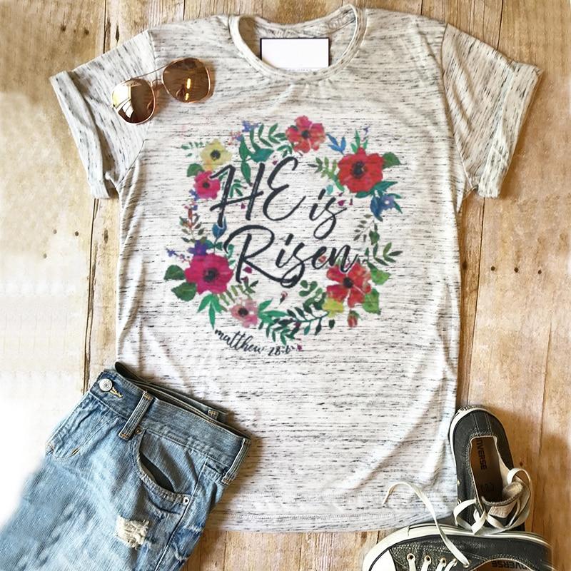Camiseta de Pascua para mujer, camiseta de Pascua he is ripped, camisetas cristianas de primavera para mujer, ropa de granja para niñas, estampado de rosas