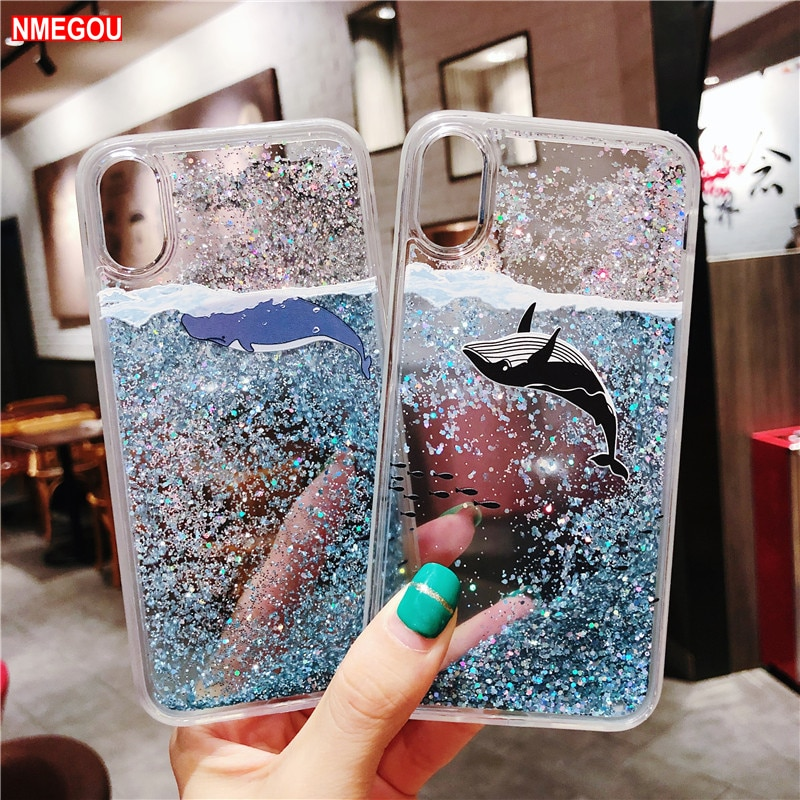 De moda dinámica líquido arenas movedizas funda para teléfono para IPhone X XS X Max XR 8 7 6 6 S 6 S Plus Coque lindo océano Dolphin claro cubierta de silicona