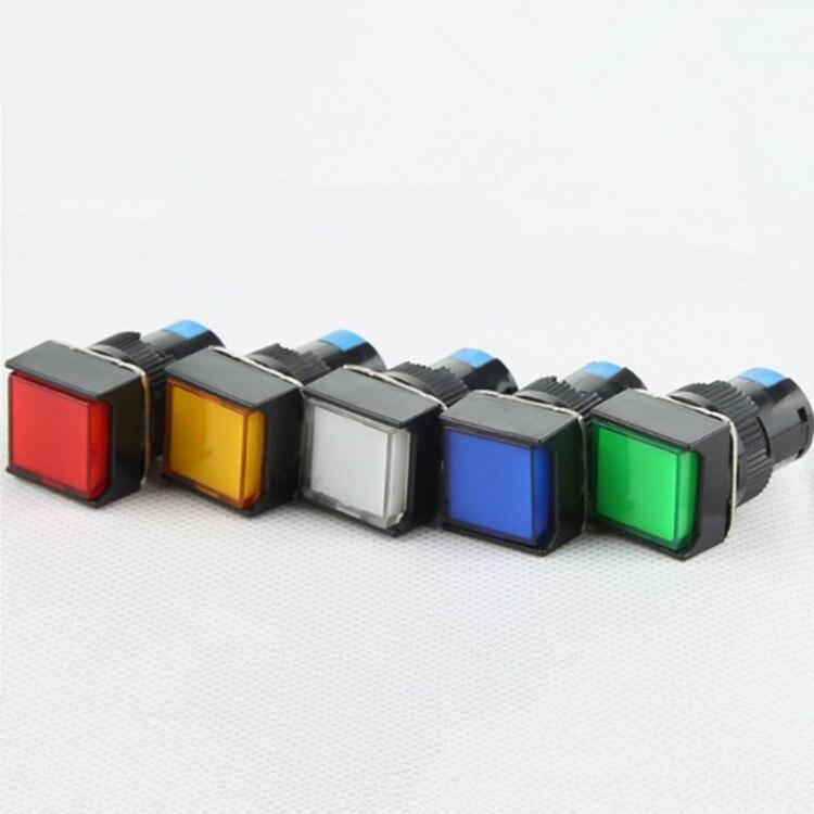 Самоблокировка/разблокировка без NC светодиодная подсветка квадратный кнопочный переключатель 6/12/24/220 в