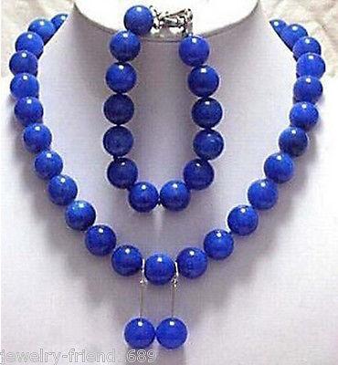 La joyería genuina 12 mm azul jade pulsera del collar fija > ^ ^ ^ 1 > 18 K oro plateado reloj reloj de cuarzo piedra CZ crystal