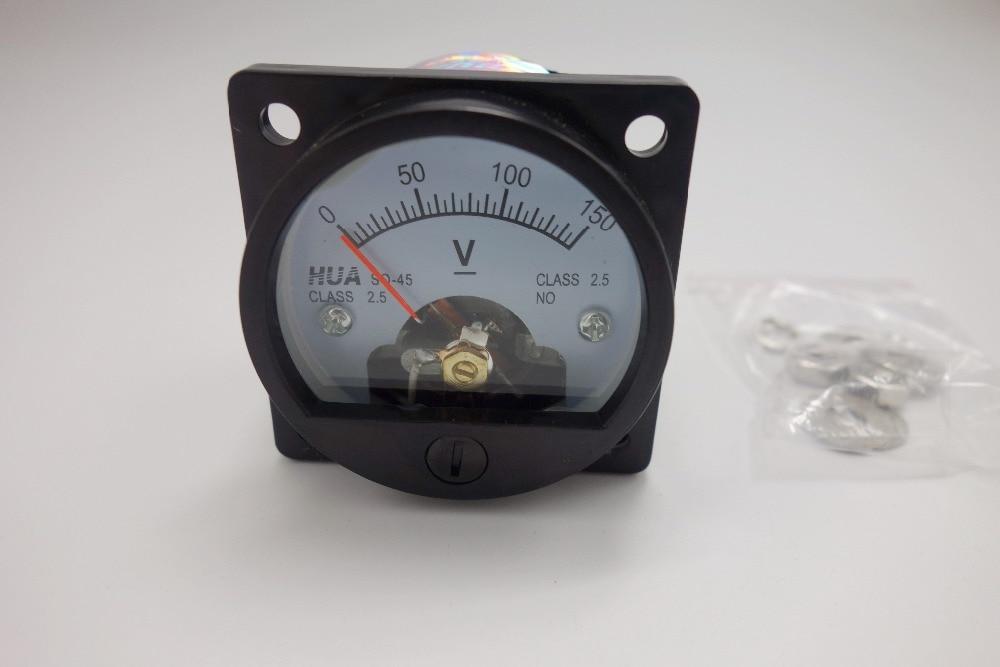Voltímetro analógico DC 0-150V medidor de panel de voltaje analógico SO45 diámetro de recorte del Panel 45mm conexión directa