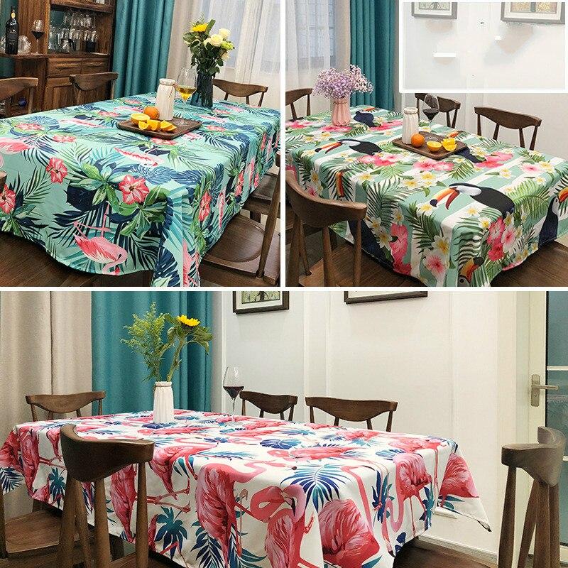 Mantel con estampado de hojas de palma Tropical, flamenco, Dacron, no planchado,...