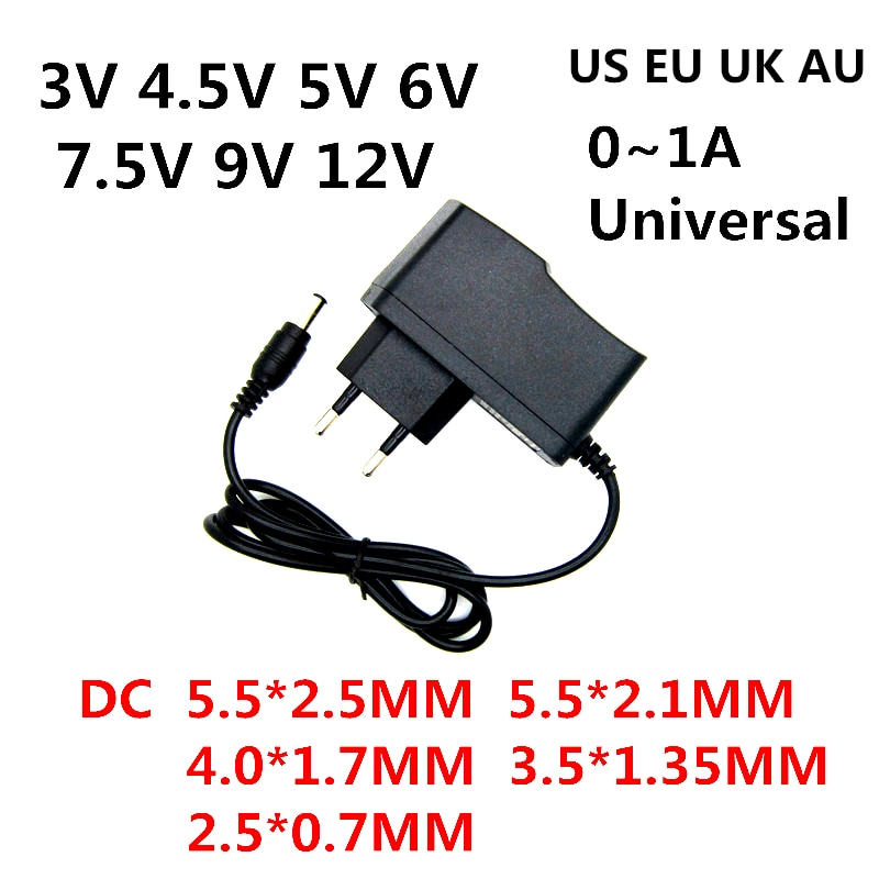 AC 100-240V DC 3V 4.5V 5V 6V 7.5V 9V 12V 0.5A 1A Universa AC / DC adapter charger power supply for L