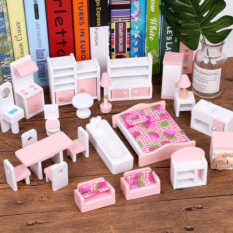 أثاث مصغر للدمى الخشبية ، مجموعات أثاث بيت الدمى ، ألعاب تعليمية للتظاهر ، هدايا للأطفال