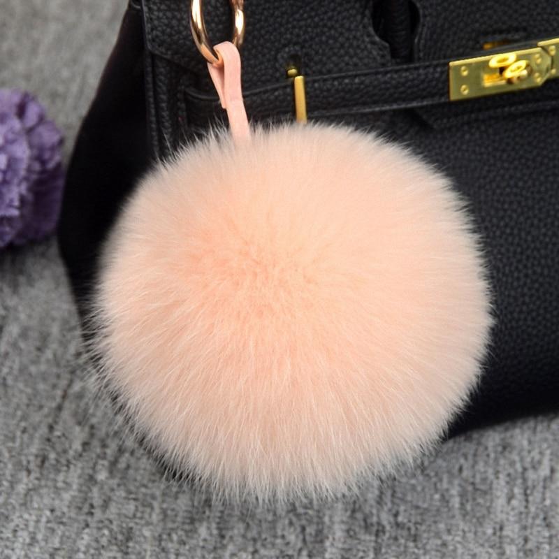 Bola de piel de zorro esponjosa de lujo de 11cm, pompón Real de 12 colores, llavero de piel auténtica, anillo de Metal colgante, abalorio de bolso TKK045-peach