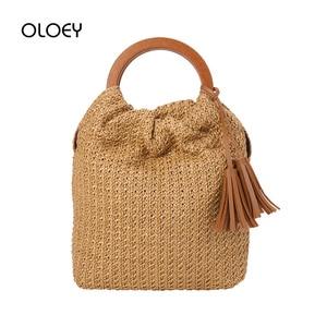 Straw Bag Top-handle Bags 2019 New Summer Tassel Women's Bag Bohemia Handbags Round handle Rattan Woven bags Sac A Main