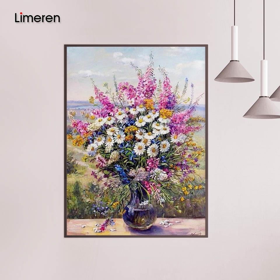 Quadro daisy flor diy pintura a óleo por números pintura acrílica sobre tela decoração para casa sala de estar