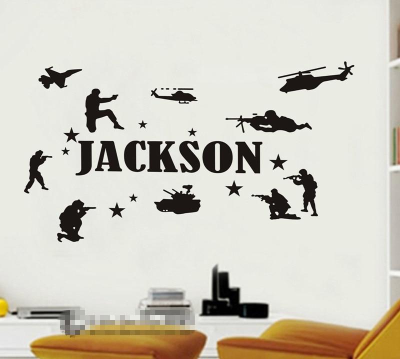 Personalizado conhecido personalizado soldados do exército militar arte adesivos de parede meninos miúdo Home Decor Nursery adesivo de parede Mural D609