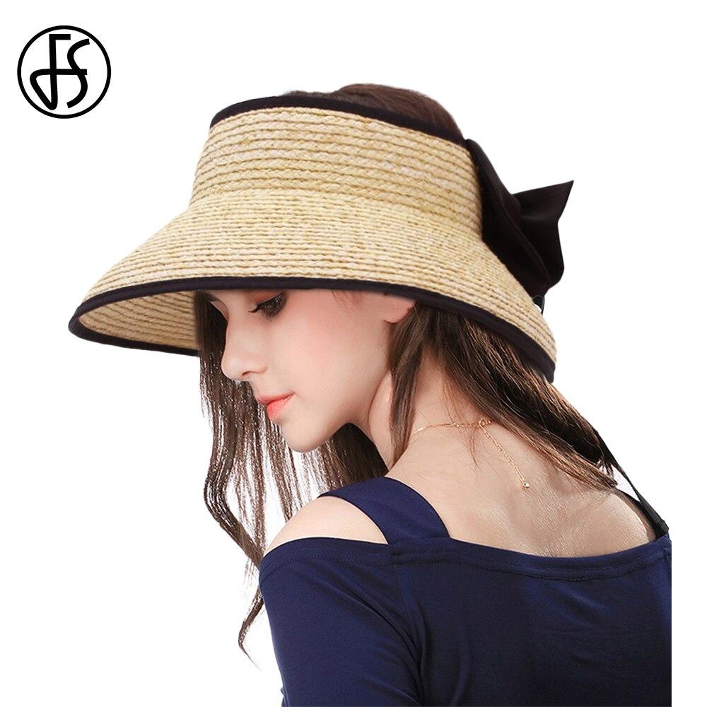 Sombreros de paja de rafia para Mujer de moda FS, sombreros largos con cinta, visera ajustable para Mujer, Sombrero de playa de verano para Mujer