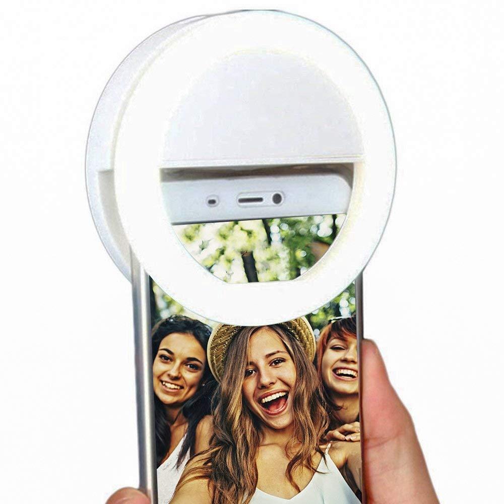 Anillo de luz FGHGF para selfies, iluminación nocturna, oscuridad, mejora de la luz para teléfono, carga USB suplementaria, anillo de luz LED para selfies para Iphone