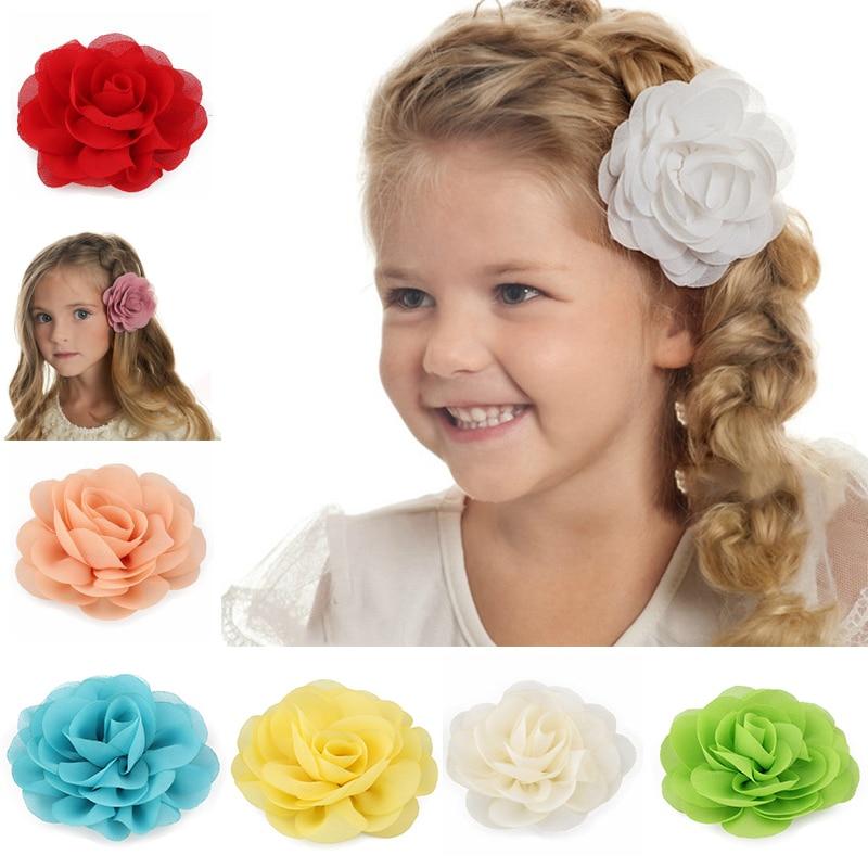 Hairgrips Headwear Children Big Flower Soft Girls Multi-Color Kids Cute Party Hair Clips Hair Accessories Festival 1PC 20 Colors
