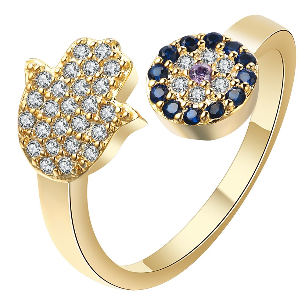 Hainon Silver/Gold Color Evil Eye Blue Eye Adjustable Female Rings Hamsa Hand Fatima Hand Ring Wedding Engagement Jewelry