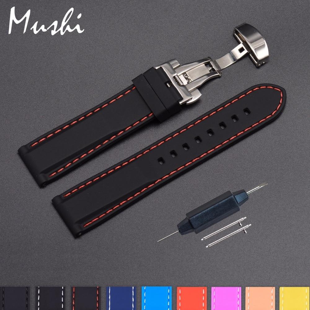 Силиконовый ремешок для часов, резиновый наручный браслет с застежкой-бабочкой из нержавеющей стали, 18 мм 20 мм 22 мм 24 мм