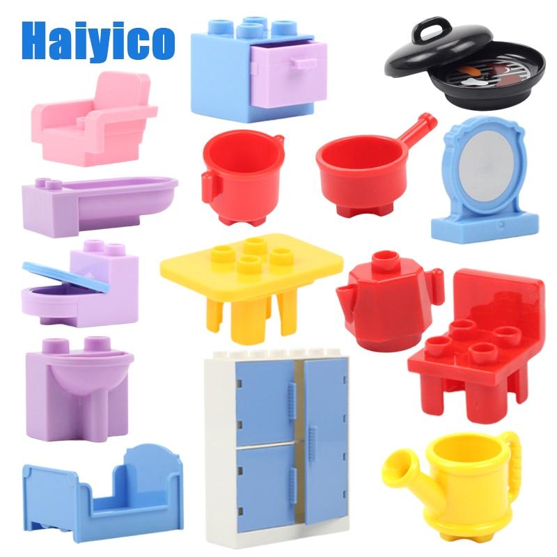 Big Building Blocks Furniture Model Accessories Compatible Duplos House Sofa Table Wardrobe Chair Kitchenware Children Diy Toys