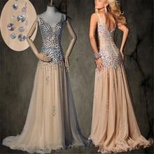 Bretelles Spaghetti col en v profond AB pierres colorées perles Champagne robe de bal taille basse Sexy robe de soirée pas cher