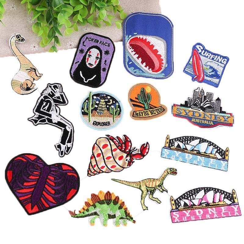 PGY Parque Jurásico Mundo Jurásico de TV, Series, películas de hierro en parches bordados parches para ropa sombrero mochila cara de póquer H