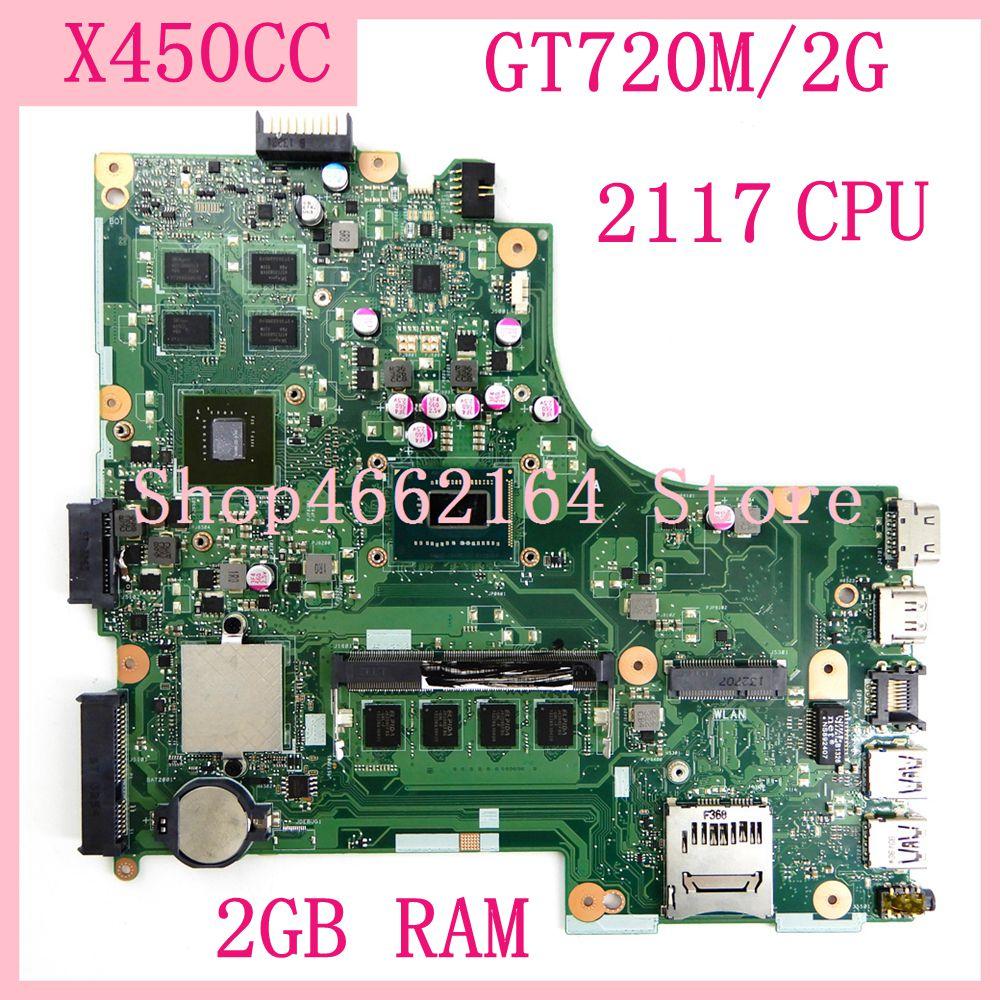 اللوحة الام X450CC 2GB RAM 2117CPU GT720M/2G ل Asus X450 X450C X450CC اللوحة الام للحاسوب المحمول X450CC اللوحة الام للحاسوب المحمول 100% تم اختبارها